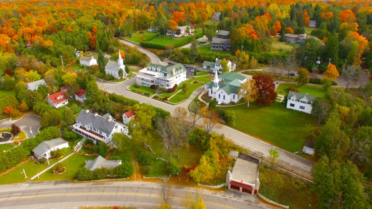Scenic Door County Wisconsin autumn aerial of Sister Bay